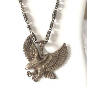 Silver Eagle Pendant Long Barrel Chain